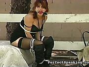 Gagged lesbian MILF bound ready for spanking