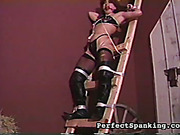 Ball-gagged MILF bitch bound before lesbo spanking