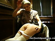 Strict schoolmarm paddled and spanked new schoolgirls
