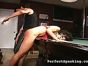 Cruel tattooed spanker punished brunette on billiards table