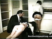 Kinky schoolmaster OTK spanked three young asses