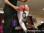 Master gave cruel OTK spanking and paddling