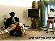 Two young asses spanked by old gentleman