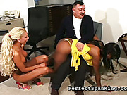 Interracial spanking set in the office