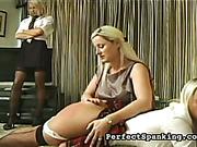 Mature lesbian gave OTK spanking to young schoolgirls