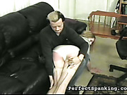Dude gave OTK spanking to submissive blonde's butt