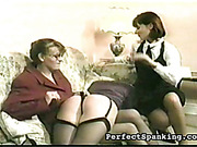 Three kinky lesbo practice domestic ass spanking