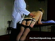Nice ass blonde spanked by kinky doctor