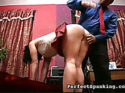 Sexy schoolgirl in mini skirt punished by Dad