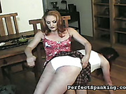 Strapped cunt and spanked ass of slutty daughter