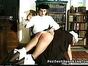 Mistress spanked OTK big ass of mature maid
