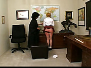 Fatass schoolgirl was paddled and caned in class
