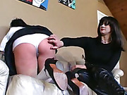 Humilation of submissive schoolgirl from mistress