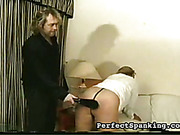 Paddling and caning of fat ass of blonde