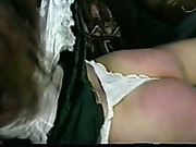 OTK spanking of white chick from black MILF