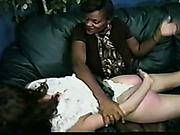 OTK spanking of white chick from black MILF