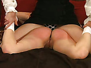 Srict spanking of submissive redhead bitch