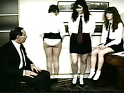 Three disobedient schoolgirls are ready for spanking