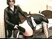 Hard spanking of poor skinny housemaid