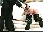 Hard punishment of chubby bitch in latex boots