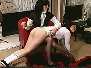 Spanking tortures of young brunette in OTK style