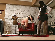 Submissive ass got terrible lesbo paddling
