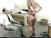 Kinky boss likes punishing his blond secretary hard