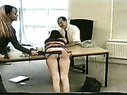 Strict boss is caning and spanking his secretaries