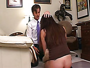 Nerdy Asian babe got her cute ass spanked