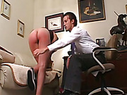 Young brunette spanked OTK and strapped