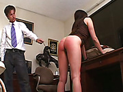 Terrible spanking experiment with red bubble butt
