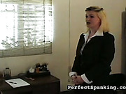 Rough spanking of female secretary in the office