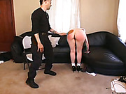 Bigbutt redhead bitch caned and terribly paddled