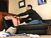 Tattoed girl is spanked by her kinky boyfriend