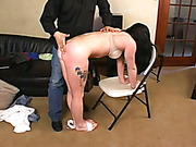 Tattoed bitch is caned and spanked OTK