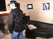 Dude invited babe for domestic spanking session