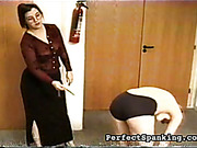Mature lesbian boss is caning her secretary