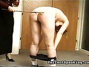 Mature lesbian boss is caning her secretary