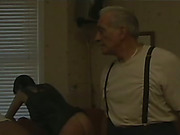 Old guy  likes spanking with two black sluts