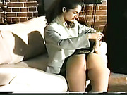 Two lesbians and drunk dude having OTK spanking