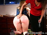 Mature spanked bare slut's ass hard