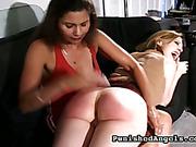 Blonde was punished by jealous lesbo girlfriend