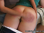 Mom punished chubby daughter with  OTK spanking