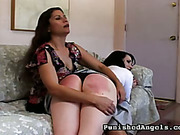Soundly spanked ass of young brunet Samantha
