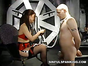 Bound guy got spanking from cruel Asian mistress