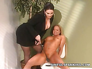 Dominatrix Taylor St. Claire whipped poor female slave