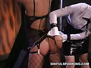 Dominating brunette spanked slavergirl after bounding her