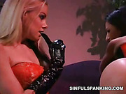 Crazy latex lesbians spanked each other like hell