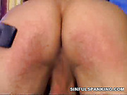Strict blond domme paddled dude's nude butt