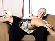 Older guy spanked young bitch at home